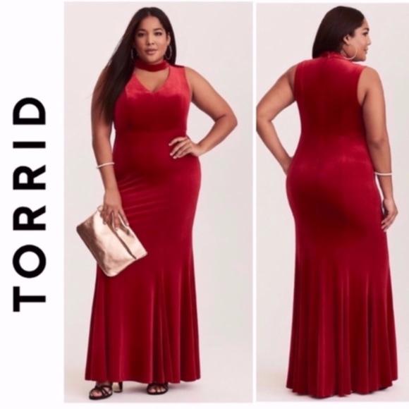 NWT Torrid Red Velvet Gown Mermaid Plus Size Dress NWT
